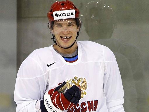 Alexander Ovechkin laughs